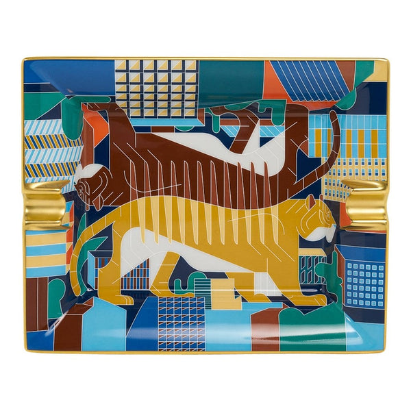 Hermes Tigre en Miroir Ashtray Limoges Porcelain Gold Edge New w/ Box