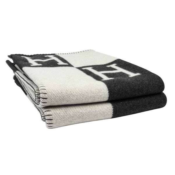 Hermes Blanket Avalon I Signature H Ecru and Gris Fonce Throw Blanket