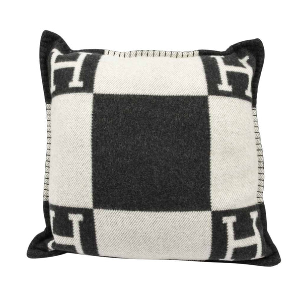 Hermes Cushion Avalon I PM Signature H Ecru and Gris Fonce Throw Pillow