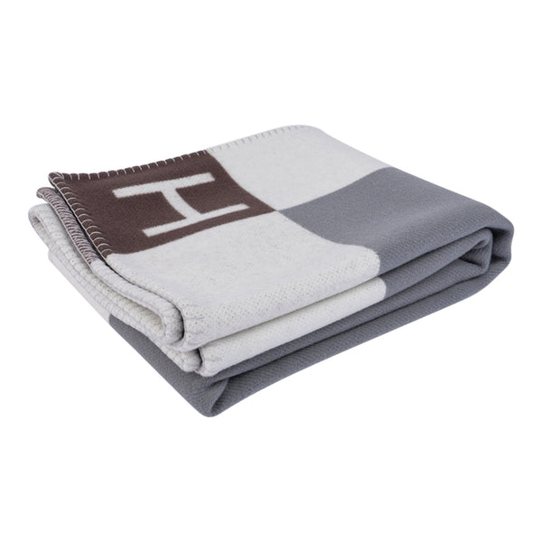 Hermes Avalon Vibration Throw Blanket Gris / Ecru Wool / Cashmere New