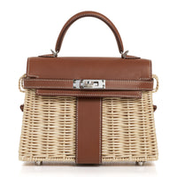 Hermes Mini Kelly 20 Picnic Barenia / Osier Bag New