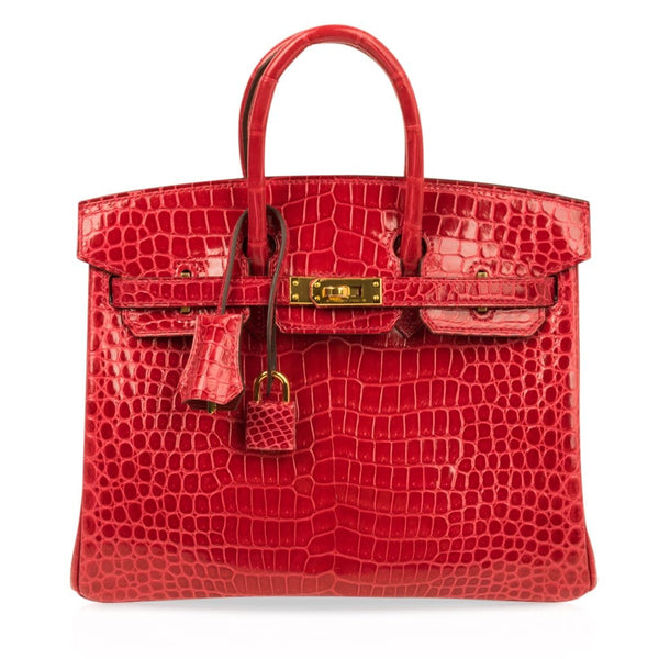 Hermes Birkin 25 Bag Braise Porosus Crocodile Gold Hardware Lipstick Red