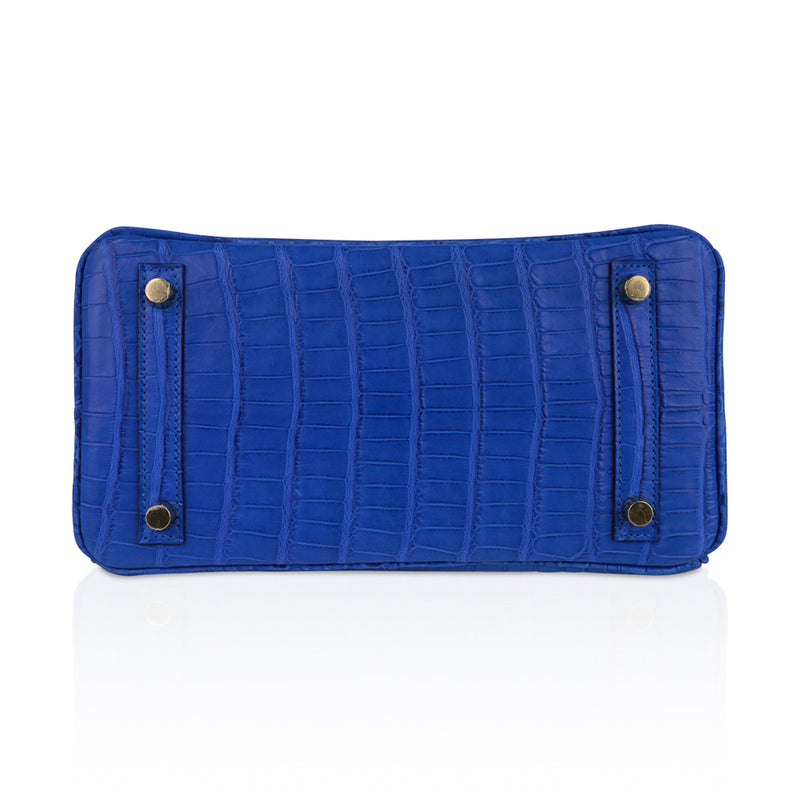 Hermes Birkin 25 Bag Blue Zellige Matte Alligator Gold Hardware
