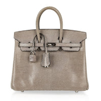 Hermes Birkin 25 Bag Gris Agate Lizard Palladium Hardware VERY Rare - mightychic