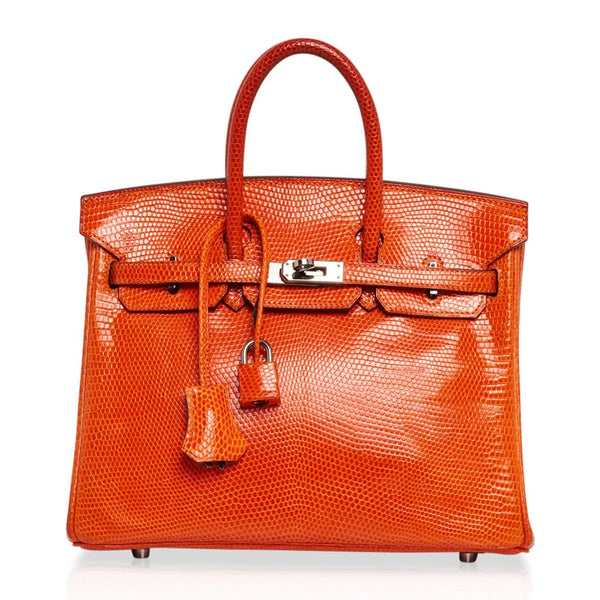 Hermes Birkin 25 Orange Tangerine Lizard Palladium Hardware