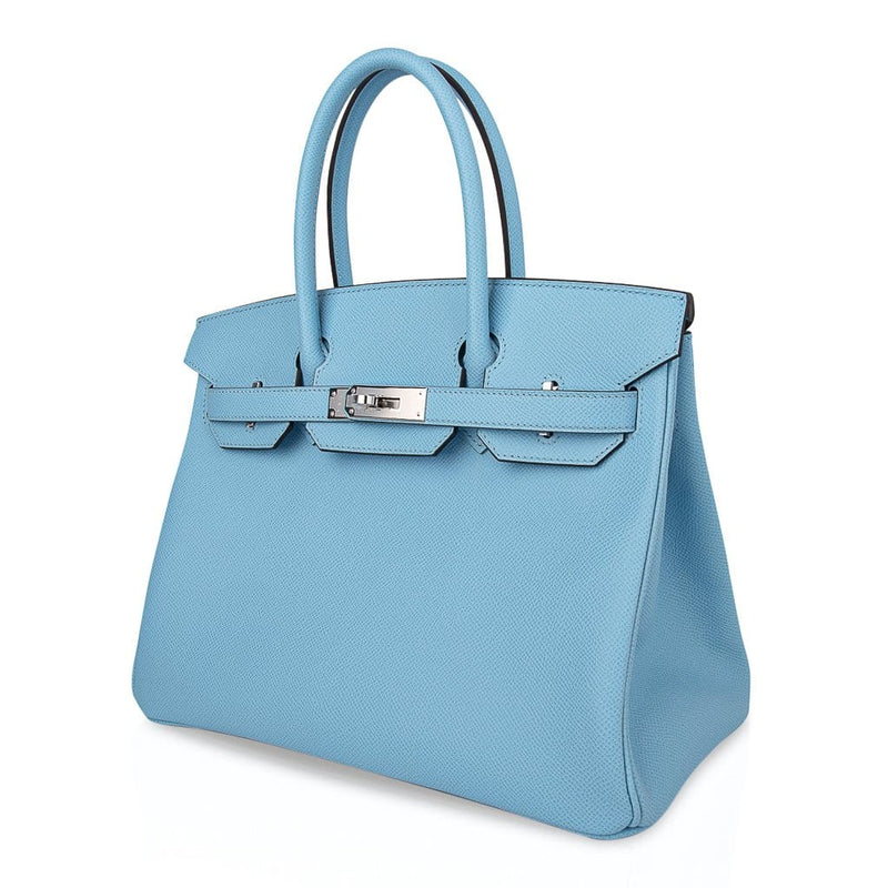 Hermes Birkin 30 Bag Blue Celeste Epsom Palladium Hardware New