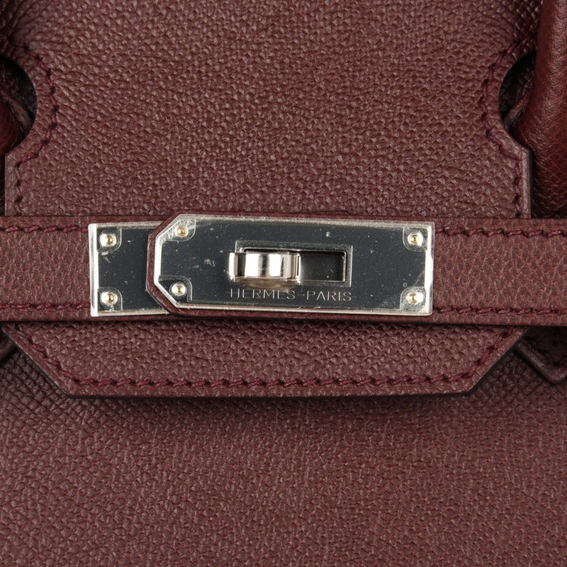 Hermes Birkin 30 Bag Bordeaux Epsom Palladium Hardware - mightychic