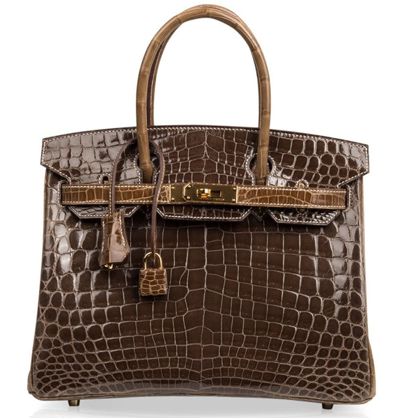 Hermes Birkin 30 Bag HSS Crocodile Gris Elephant / Ficelle Gold Hardware - mightychic