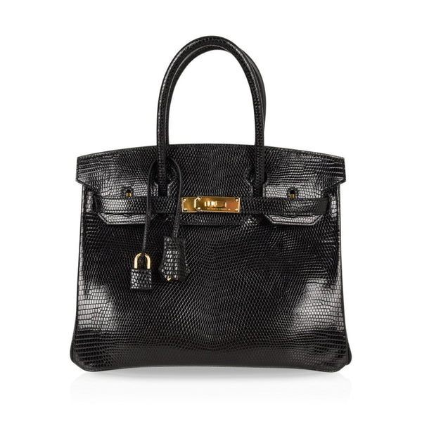 Hermes Birkin 30 Bag Jet Black Lizard Gold Hardware