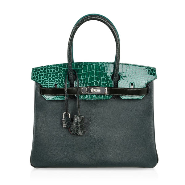Hermes Birkin 30 Bag Limited Edition Patchwork Emerald Green Crocodile Accent - mightychic