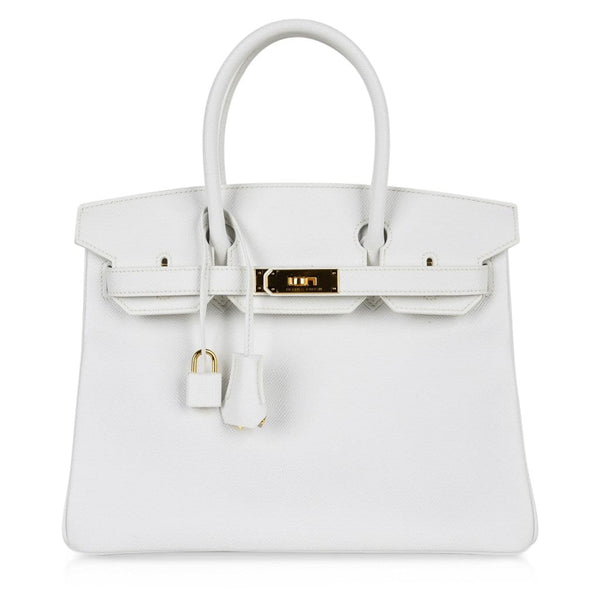 Hermes Birkin 30 Bag White Epsom Leather Gold Hardware New
