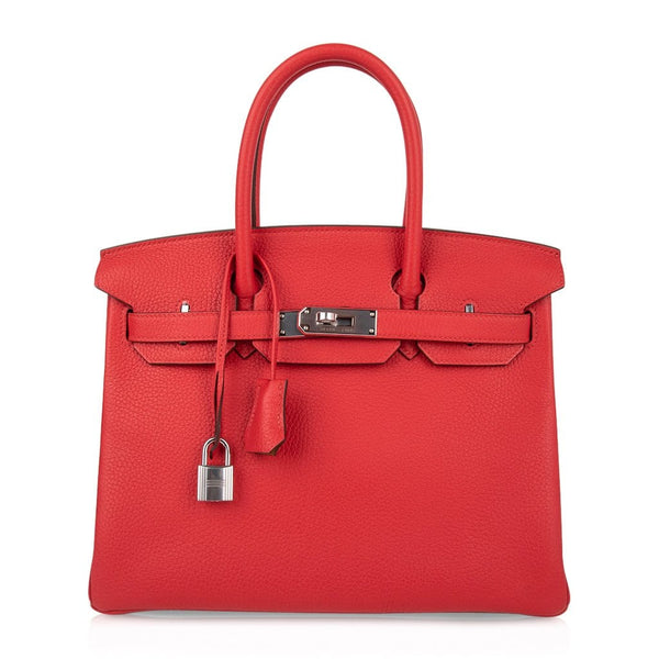 Hermes Birkin 30 Bag Verso Rouge Tomate Natural Sable Togo Palladium