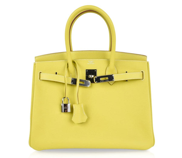 1eca41c7a039 ... Hermes Birkin 30 Bag Rare Lime Candy Limited Edition Gris Perle Interior  Palladium - mightychic ...