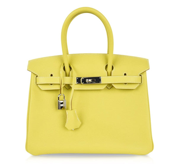 Hermes Birkin 30 Bag Rare Lime Candy Limited Edition Gris Perle Interior Palladium