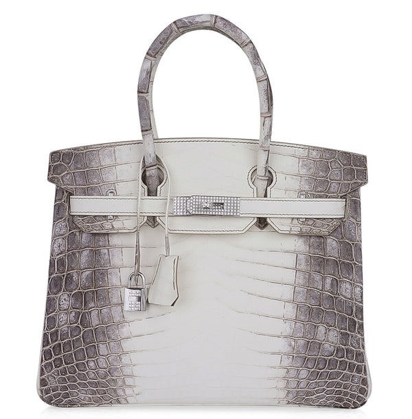 Hermes Birkin 30 Bag Diamond Himalaya Blanc Crocodile Palladium Hardware