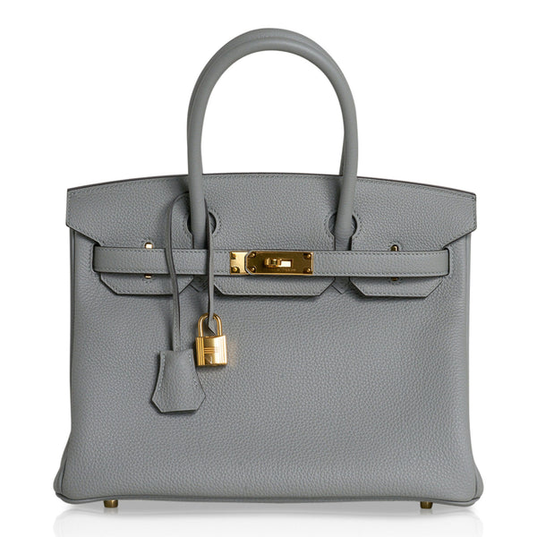 Hermes Birkin 30 Bag Gris Mouette Gold Hardware Togo Leather