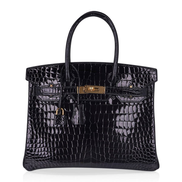 Hermes Birkin 30 Bag Black Porosus Crocodile Gold Hardware