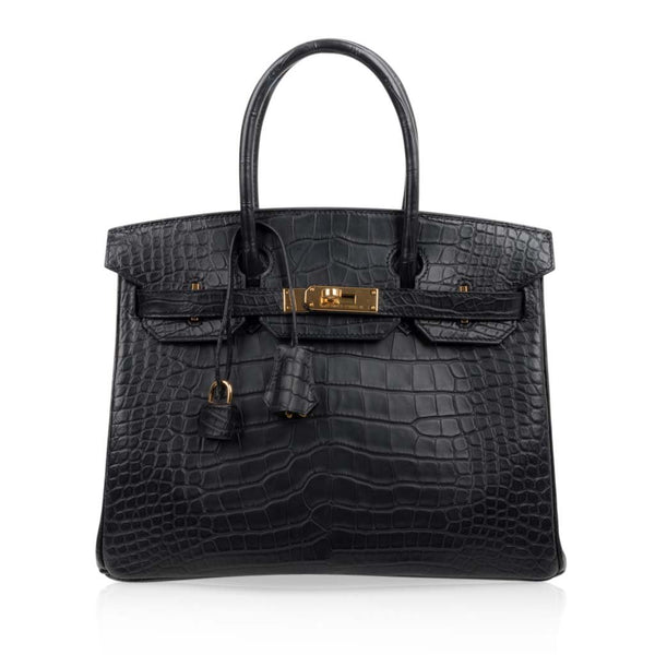 Hermes Birkin 30 Bag Black Matte Alligator Gold Hardware