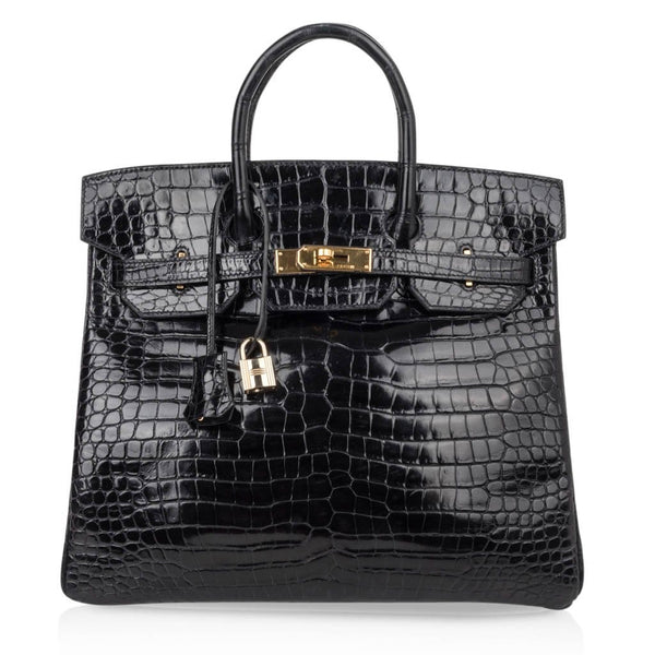 Hermes Birkin 32 Hac Bag Black Crocodile Lisse Gold Hardware