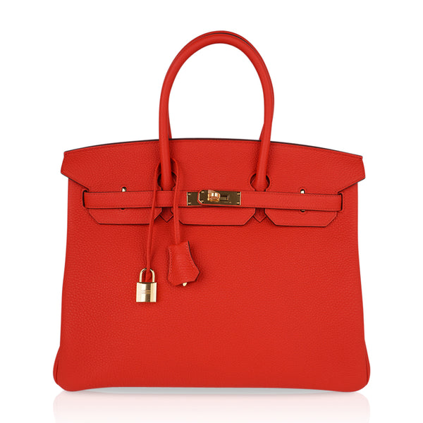 Hermes Vivid Capucine Red Togo Gold Hardware Birkin 35 Bag