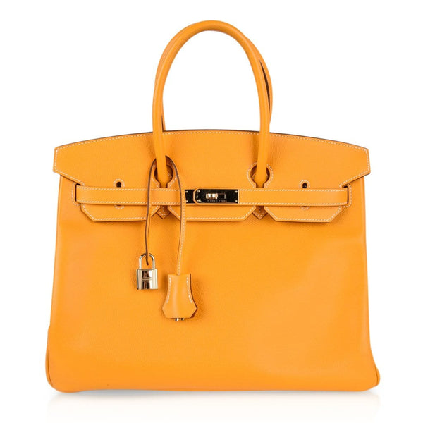 Hermes Birkin 35 Bag Yellow Jaune Candy Limited Edition Epsom Permabrass - mightychic