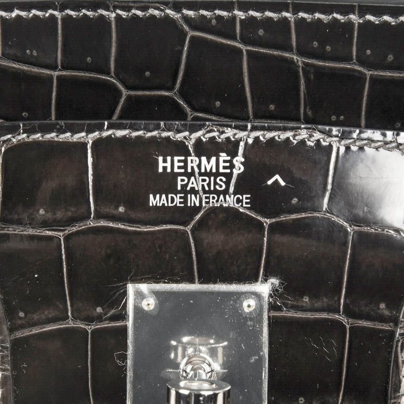 Hermes Birkin 35 Bag Graphite Gray Porosus Crocodile Palladium Pure Chic