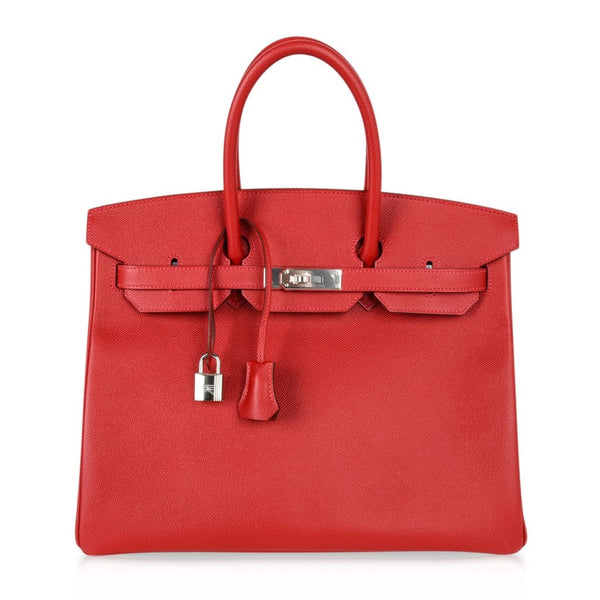 Hermes Birkin 35 Bag Rouge Casaque Lipstick Red Epsom Palladium new