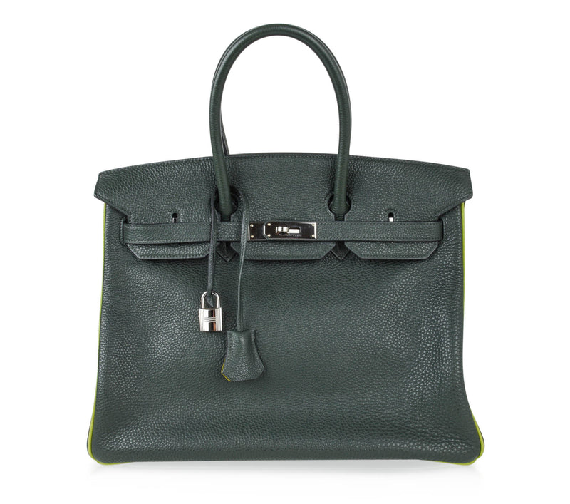 Hermes Birkin 35 Bag Vert Fonce Anis Piping Chartreuse Interior Ruthenium Togo - mightychic