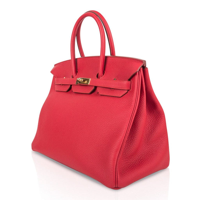 Hermes Birkin 35 Bag Vermillion Red Togo Gold Hardware