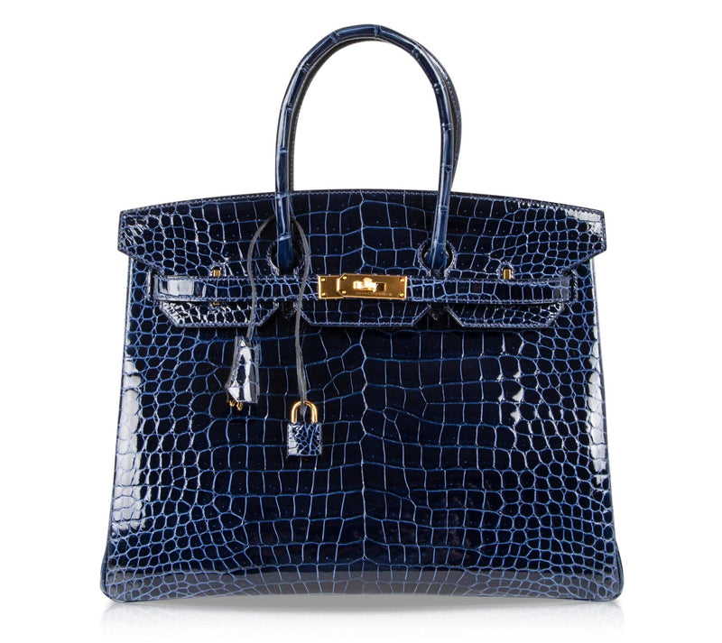 Hermes Birkin 35 Bag Blue Sapphire Porosus Crocodile Gold Hardware New - mightychic