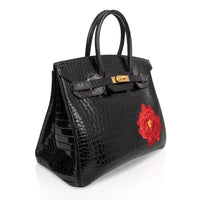 Hermes Birkin 35 HSS Porosus Crocodile Black Red Dewdrop Rose One of a Kind - mightychic