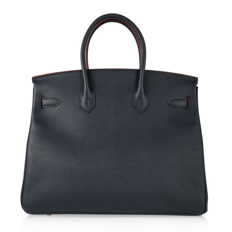 Hermes Birkin 35 Bag Navy w/ Rouge Contour Limited Edition Epsom Gold - mightychic