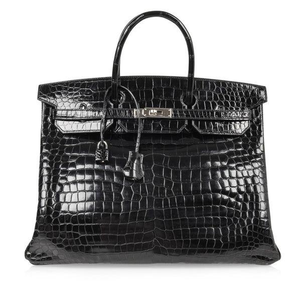 Hermes Birkin 40 Bag Black Porosus Crocodile Palladium