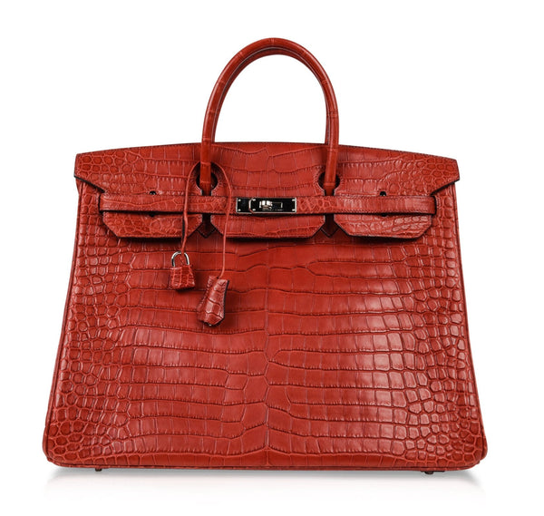 Hermes Birkin 40 Bag Rouge Red Matte Porosus Crocodile Palladium