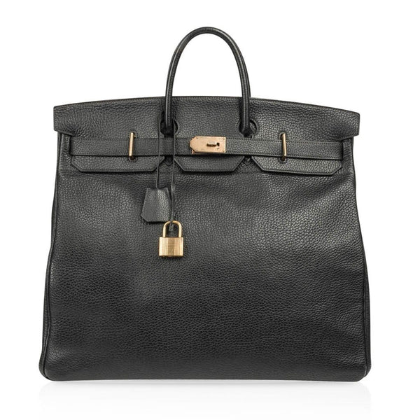 Hermes Hac 50 Black Fjord Leather Brass Hardware