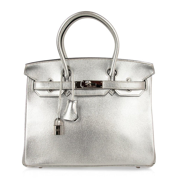 Hermes Birkin 30 Bag Silver Metallic Chevre Palladium Hardware Limited Edition