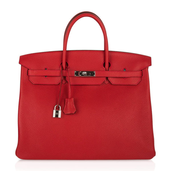 Hermes Birkin 40 Bag Rouge Casaque Togo Palladium