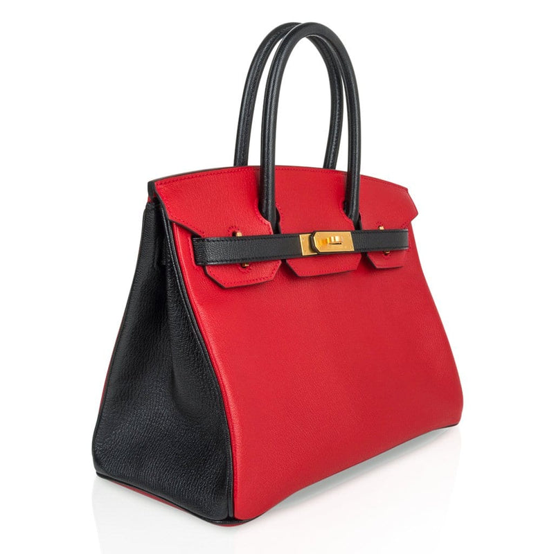 Hermes Birkin HSS 30 Bag Rouge Casaque and Black Chevre Brushed Gold Hardware