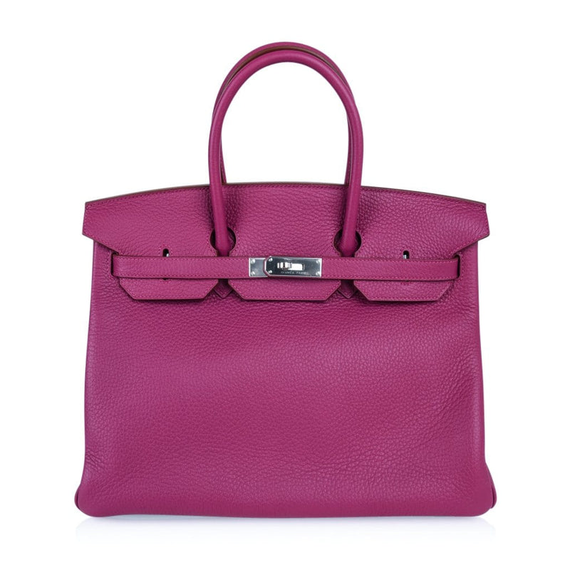 Hermes Birkin 35 Bag Rare Pink Tosca Special Order Horseshoe Clemence Palladium - mightychic