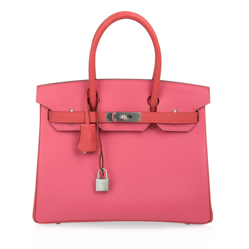 Hermes Birkin 30 Bag HSS Rose Azalee Rose Jaipur Epsom Brushed Pallaium Hardware - mightychic