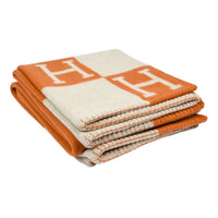 Hermes Blanket Avalon I Signature H Orange Throw Blanket - mightychic