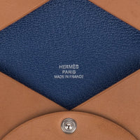 Hermes Calvi Barenia Leather Blue Sapphire Interior Card Holder