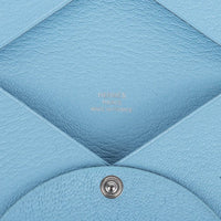 Hermes Calvi Blue Celeste Chevre Mysore Leather Card Holder - mightychic