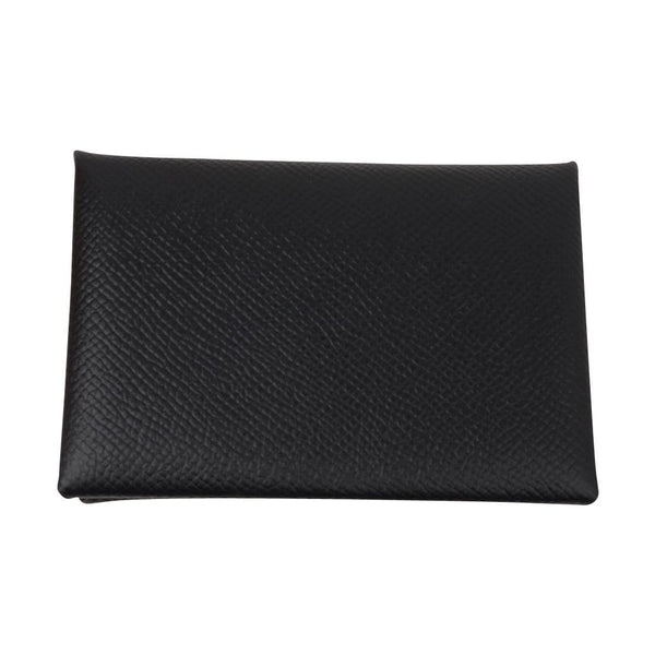 Hermes Calvi Black Epsom Leather Card Holder - mightychic