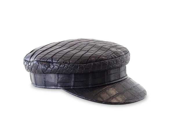 Hermes Newsboy Hat Matte Black Crocodile Limited Edition Cap 57 w/ Box - mightychic