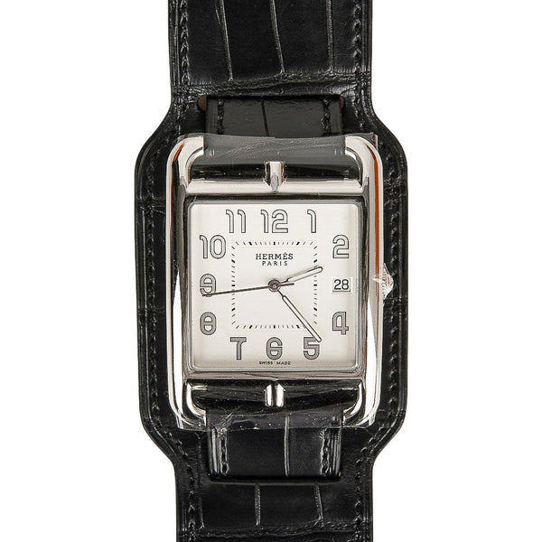 Hermes Cape Cod Watch Steel Black Matte Alligator Cuff Strap