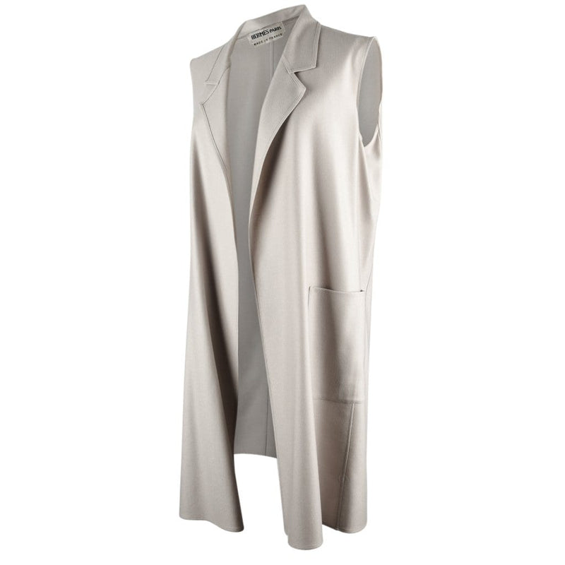 Hermes Coat Cashmere 2Piece Vest Coat Pearl Gray 40 / 6 - mightychic