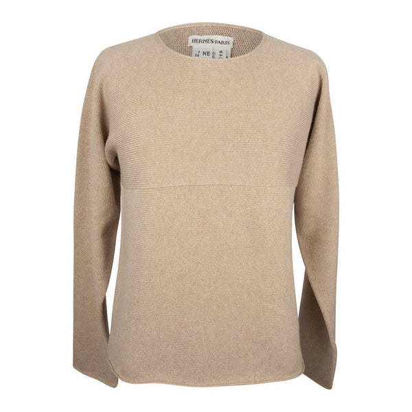 Hermes Top Cashmere Sweater Classic Tan Knit ME