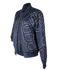 Hermes Men's Jacket Ancre Design Blue Reversible Bomber 50 nwt - mightychic