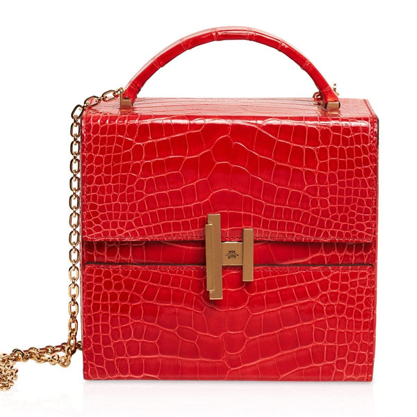 Hermes Cinhetic Bag Rouge de Coeur Shiny Alligator Permabrass Hardware New w/Box